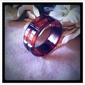Vintage Chunky Amber Lucite Bangle Bracelet
